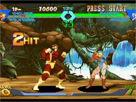 In game image of X-Men vs. Street Fighter on the Sony Playstation.
