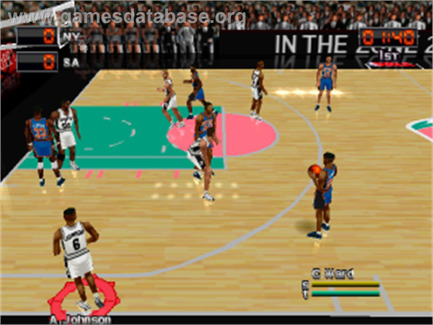 In game image of NBA in the Zone 2000 on the Sony Playstation.