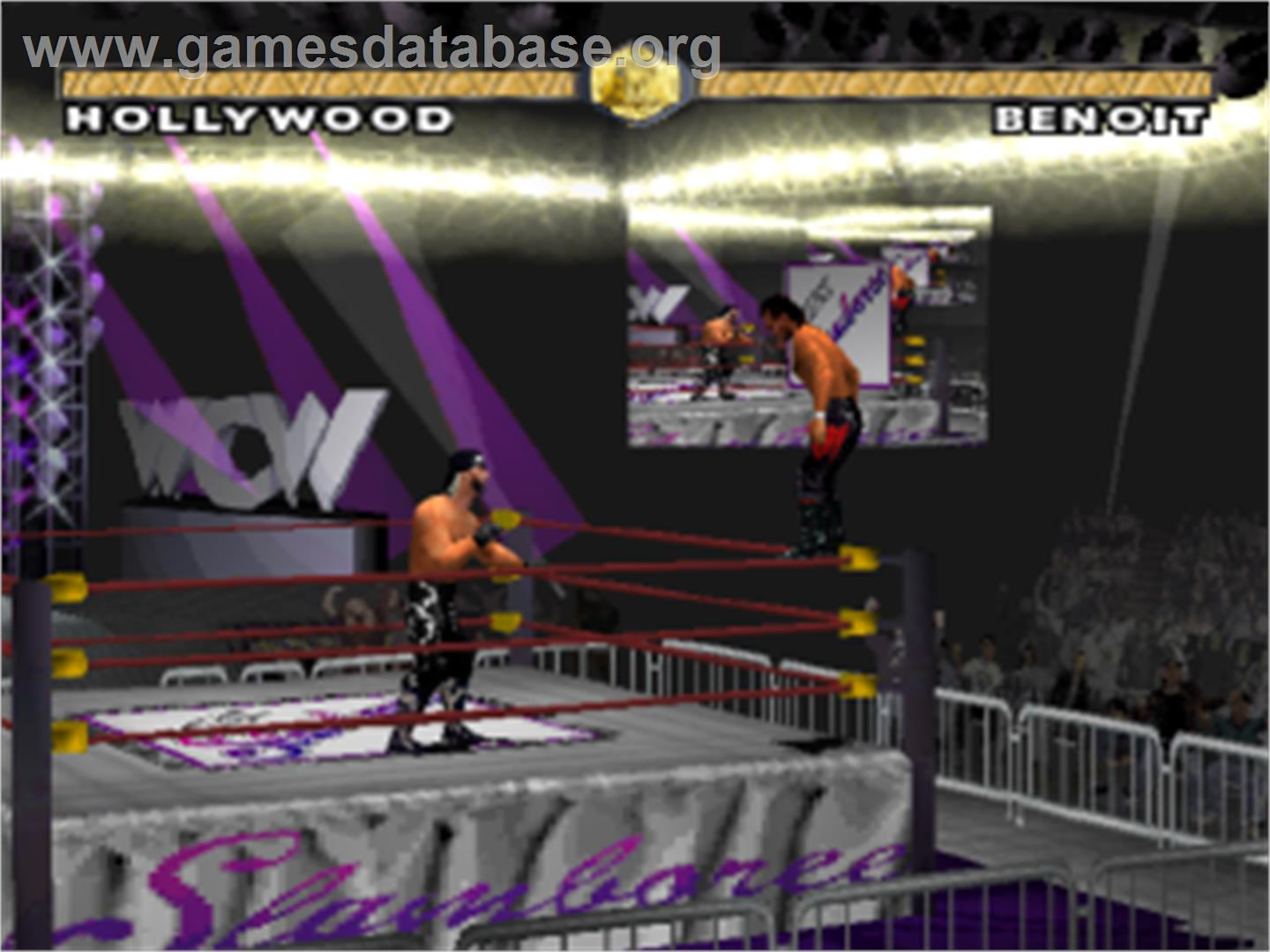 In game image of WCW Nitro on the Sony Playstation.