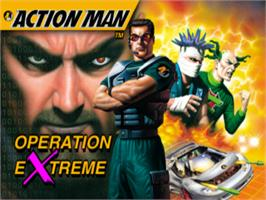 Title screen of Action Man: Operation Extreme on the Sony Playstation.