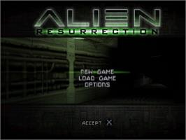 Title screen of Alien Resurrection on the Sony Playstation.