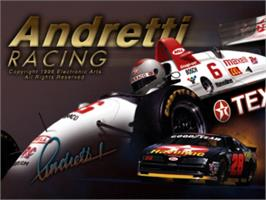 Title screen of Andretti Racing on the Sony Playstation.
