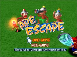 Title screen of Ape Escape on the Sony Playstation.