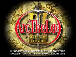Title screen of Arc the Lad III on the Sony Playstation.
