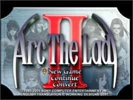 Title screen of Arc the Lad II on the Sony Playstation.