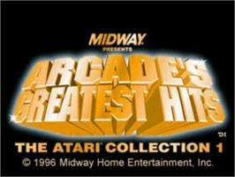 Title screen of Arcade's Greatest Hits: The Atari Collection 1 on the Sony Playstation.