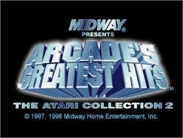 Title screen of Arcade's Greatest Hits: The Atari Collection 2 on the Sony Playstation.