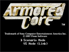 Title screen of Armored Core: Master of Arena on the Sony Playstation.