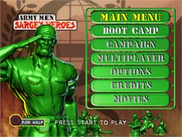 Title screen of Army Men: Sarge's Heroes on the Sony Playstation.
