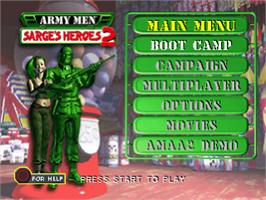 Title screen of Army Men: Sarge's Heroes 2 on the Sony Playstation.