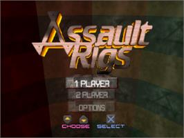 Title screen of Assault Rigs on the Sony Playstation.