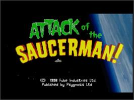 Title screen of Attack of the Saucerman on the Sony Playstation.