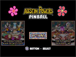 Title screen of Austin Powers Pinball on the Sony Playstation.