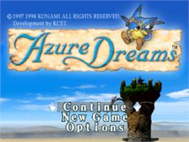 Title screen of Azure Dreams on the Sony Playstation.
