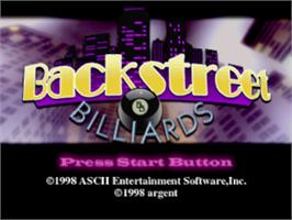 Title screen of Backstreet Billiards on the Sony Playstation.