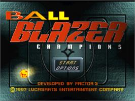 Title screen of Ballblazer Champions on the Sony Playstation.