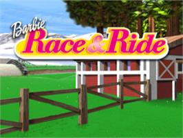 Title screen of Barbie: Race and Ride on the Sony Playstation.