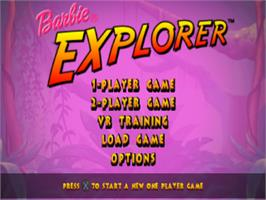 Title screen of Barbie Explorer on the Sony Playstation.