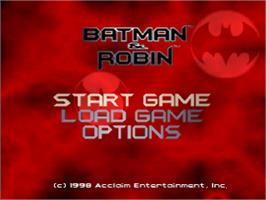Title screen of Batman & Robin on the Sony Playstation.