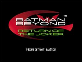 Title screen of Batman Beyond: Return of the Joker on the Sony Playstation.