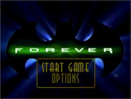Title screen of Batman Forever: The Arcade Game on the Sony Playstation.