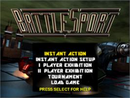 Title screen of Battlesport on the Sony Playstation.