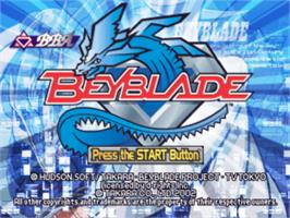 Title screen of Beyblade on the Sony Playstation.