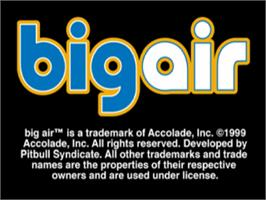 Title screen of Big Air on the Sony Playstation.