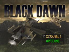 Title screen of Black Dawn on the Sony Playstation.