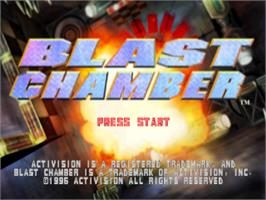 Title screen of Blast Chamber on the Sony Playstation.