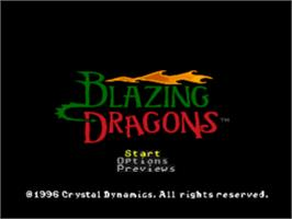 Title screen of Blazing Dragons on the Sony Playstation.