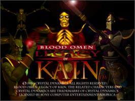 Title screen of Blood Omen: Legacy of Kain on the Sony Playstation.