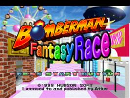Title screen of Bomberman Fantasy Race on the Sony Playstation.