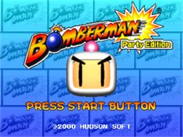Title screen of Bomberman Party Edition on the Sony Playstation.