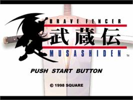 Title screen of Brave Fencer Musashi on the Sony Playstation.