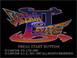 Title screen of Breath of Fire III on the Sony Playstation.