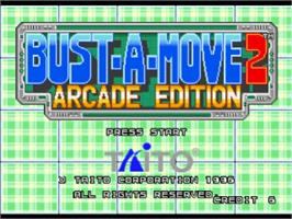 Title screen of Bust-A-Move 2: Arcade Edition on the Sony Playstation.