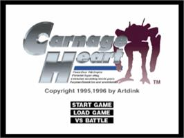 Title screen of Carnage Heart on the Sony Playstation.