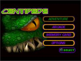 Title screen of Centipede on the Sony Playstation.