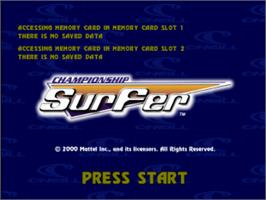 Title screen of Championship Surfer on the Sony Playstation.