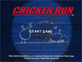 Title screen of Chicken Run on the Sony Playstation.
