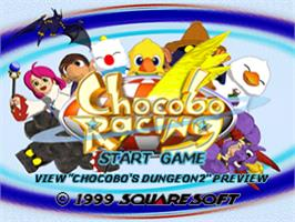 Title screen of Chocobo Racing on the Sony Playstation.