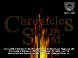 Title screen of Chronicles of the Sword on the Sony Playstation.