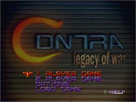 Title screen of Contra: Legacy of War on the Sony Playstation.