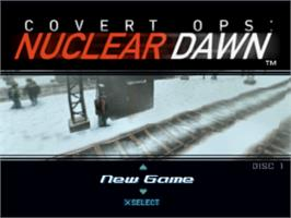 Title screen of Covert Ops: Nuclear Dawn on the Sony Playstation.
