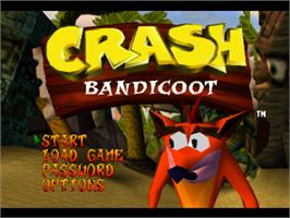 Title screen of Crash Bandicoot on the Sony Playstation.