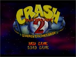 Title screen of Crash Bandicoot 2: Cortex Strikes Back on the Sony Playstation.