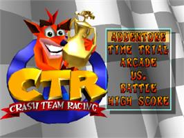 Title screen of Crash Team Racing on the Sony Playstation.