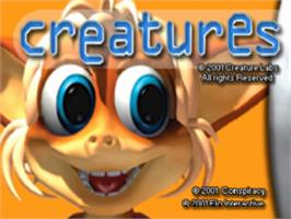 Title screen of Creatures on the Sony Playstation.