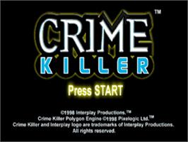 Title screen of Crime Killer on the Sony Playstation.